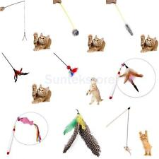 Various Kitten Cat Pet Toy Chaser Wand Teaser Feather Bell Interactive Play Fun