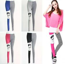 Fashion Sexy Women Girl Striped Pirates Design Leggings Pants Splicing Trousers