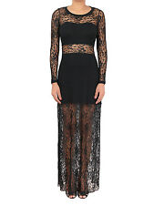 Womens Lace Long Sleeve Maxi Elegant Slim Lace Gown Evening Cocktail Party Maxi