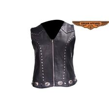 Women's Studded Leather Motorcycle Vest With Concealed Carry Pockets