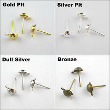 New Half Ball Stud Earring Post Earwire 4mm 6mm 8mm Gold Silver Bronze Plated
