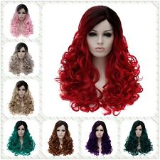 Women Gradient Long Curly Side Parting Haircut Wave Full Hair Cosplay Party Wigs