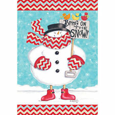 BRING ON THE SNOW SNOWMAN HOUSE FLAG OR GARDEN FLAG OR MAILBOX COVER