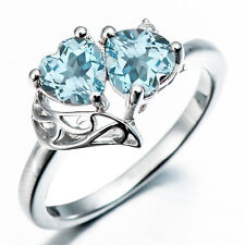 Double Heart Sky Blue Topaz & Diamond Accents Solid 925 Sterling Silver Ring