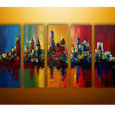 5 pcs Summer In The City-Modern Canvas Decor Hand-painted Cityscape Oil Painting