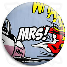 Mrs - 25mm Comic Wedding Button Badge with Fridge Magnet Option