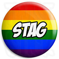 Stag - 25mm LGBT Wedding Button Badge with Fridge Magnet Option