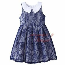 Toddler Girl Navy Flower Lace Dress Princess Kids Pleated Wedding Party Pageant
