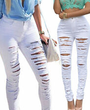 NEW Womens Denim Ripped Hole Punk Cut-out Sexy Skinny Pants Jeans HOT