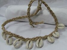 Braided Hemp Cowrie Shell Choker Necklace