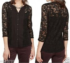 New Per Una M&S Black Lace Jersey Long Sleeve Blouse Party Cami Top Size 8 - 26