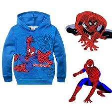 Kids Boys Girls Spiderman Hoodies Long Sleeve Jacket Coat Outwear Clothes Blue