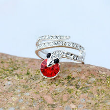 18K White Gold Plated Red Crystal Snake Ring Elegant Jewelry Gift CZ Rhinestone