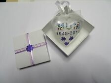 Memory Bauble Heart shaped Bauble Personalised in Gift Box