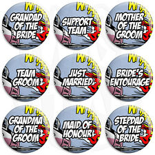Comic Wedding - Various Designs - 25mm Button Badge with Fridge Magnet Option