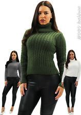 New Womens Ladies Cowl Polo Neck Chunky Cable Knit Jumper Pullover Sweater Top
