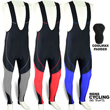 Mens Cycling Bib Tights Leggings Coolmax Padded Road Bike MTB Long Pants S to XL