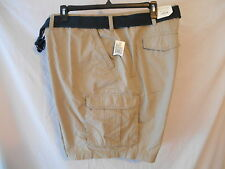 Sonoma Big Cotton Blnd 50 W  BIG TALL  Solid Belted Flat Cargo Shorts SR$60 NEW