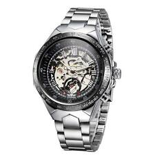 Mens Hollow Skeleton Automatic Mechanical Stainless Steel Wrist Watch Gift I5W1