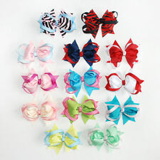 Girl Baby Hair Accessories Bow Boutique Lady Grosgrain Ribbon Alligator Clips