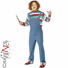 Mens Chucky Costume Childs Play Killer Doll Outfit Adult Halloween Fancy Dress