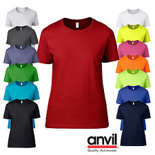 Anvil LADIES T-SHIRT SOFT COTTON SUMMER TEE SEMI FITTED NEON ALL COLOURS S-2XL
