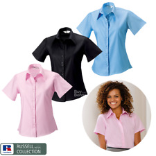 RUSSELL COLLECTION NON IRON SHIRT SHORT SLEEVE SMART COLLAR COTTON LADIES XS-4XL