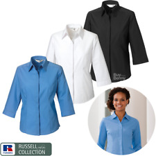RUSSELL COLLECTION 3/4 SLEEVE POPLIN SHIRT EASY CARE COLLAR SMART LADIES XS-4XL
