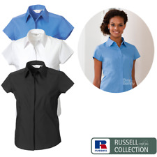 Russell Collection Ladies' Cap Sleeve Polycotton Easy Care Fitted Poplin Shirt (