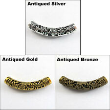 2 Charms Tibetan Silver Gold Bronze Flower Curved Tube Spacer Beads 12.5x49.5mm
