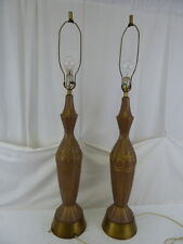 "VINTAGE MID CENTURY PAIR CERAMIC 3 WAY 43"" HIGH TABLE LAMPS"