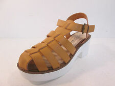 Ladies spot-on Tan heel gladiator sandal Style F10169
