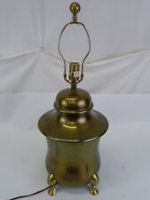 VINTAGE FOOTED POLISH BRASS 3 WAY TABLE LAMP