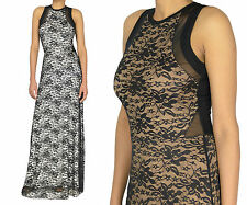 Women Floral Black Lace Cut Out Evening Maxi Gown Dress / Sheer Mesh Maxi Dress