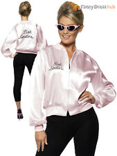 Official Grease Pink Ladies Jacket  Adult Fancy Dress Costume Womens Outfit 8-18