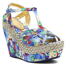 Poetic Licence Arm Candy Blue or Pink 8.5 & 9 Platform Wedge Sandals $130 New