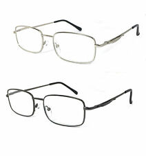 Retro Metal Frame Spring Hinges Pocket Clip Clear Lens Reader Reading Glasses