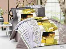 Queen/Full Size  Swan yellow Grey Comforter Bedding Set Duvet Cover/ Beautiful