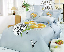 Queen/Full Size yellow flower  Comforter Bedding Set Duvet Cover/ Beautiful blue