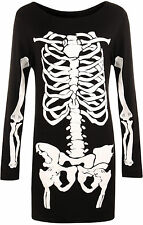New Plus Size Womens Long Sleeve Halloween Skeleton Bones Costume Ladies Dress