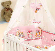 Cot / Cot Bed Bedding Sets / Canopy with Holder/ Cot Tidy - Pink & White Owls