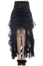 Banned Long Gothic Steampunk Bustle Corset Bustle Victorian High Skirt BLACK
