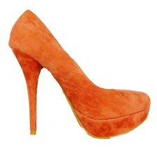 Womens Orange Faux Suede High Heel Platform Party Casual Formal Court Shoes 3 -8