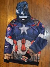 Captain America Costume Hoodie Full Zip Sweat Jacket Officially Licensed Marvel