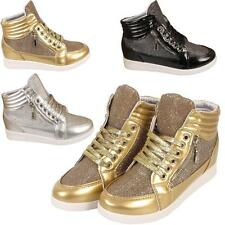 Womens Ladies Ankle Boots Trainers Girls Hi Top Sports Glitter Sneakers Shoes