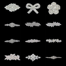 Stunning Crystal Rhinestone Flower Applique Motif Wedding Sewing/Iron on Trims