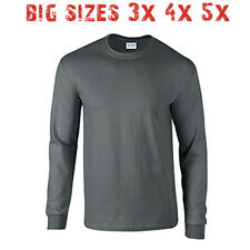Big 3X 4X 5X Men's Long Sleeve T Shirt Plain Blank Unisex 3XL 4XL 5XL Charcoal