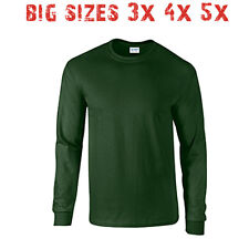 Big 3X 4X 5X Men's Long Sleeve T Shirt Plain Unisex 3XL 4XL 5XL Forest Green