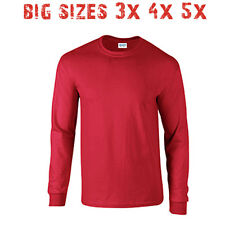 Big 3X 4X 5X Men's Long Sleeve T Shirt Plain Unisex 3XL 4XL 5XL Red
