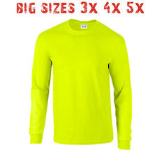 Big 3X 4X 5X Men's Long Sleeve T Shirt Plain Unisex 3XL 4XL 5XL Safety Green